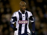 West Brom's Youssouf Mulumbu in action against Hull during the Premier League match on December 21, 2013