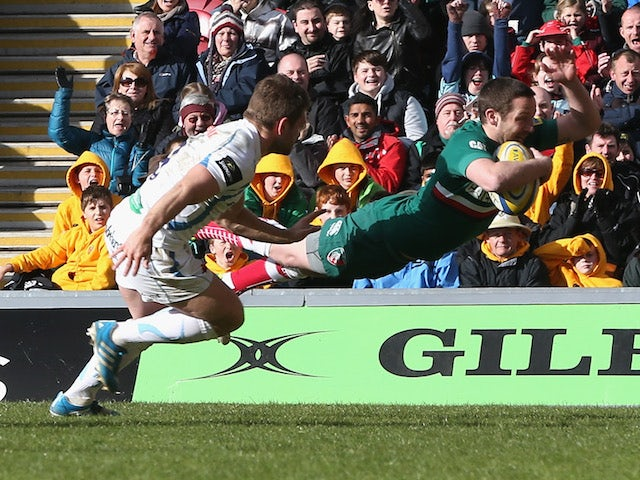 David Mele of Leicester dives over for a try during the Aviva Premiership match between Leicester Tigers and Exeter Chiefs at Welford Road on March 23, 2014