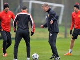 David Moyes trains with his Manchester United team on March 18, 2014.