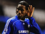 Didier Drogba celebrates scoring for Chelsea against Tottenham Hotspur on March 19, 2008.