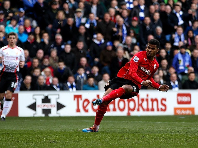 Fraizer Campbell of Cardiff scores his team's second goal of the game during the Barclays Premier League match against Liverpool on March 22, 2014