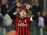 Milan's Kaka celebrates after scoring the opening goal against Lazio in the Serie A march on March 23, 2014