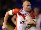 Luke Walsh of St Helens in action during the Super League match between Warrington Wolves and St Helens at The Halliwell Jones Stadium on February 13, 2014