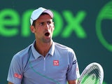Novak Djokovic of Serbia celebrates a point against Jeremy Chardy of France during their match on day 5 of the Sony Open at Crandon Park Tennis Center on March 21, 2014