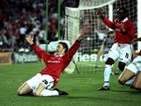 Ole Gunnar Solskjaer celebrates scoring the winning goal in the Champions League final for Manchester United on May 26, 1999.