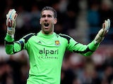 Adrian of West Ham celebrates after Kevin Nolan scored West Ham's third goal of the game during the Barclays Premier League match between West Ham and Southampton at Boleyn Ground on February 22, 2014