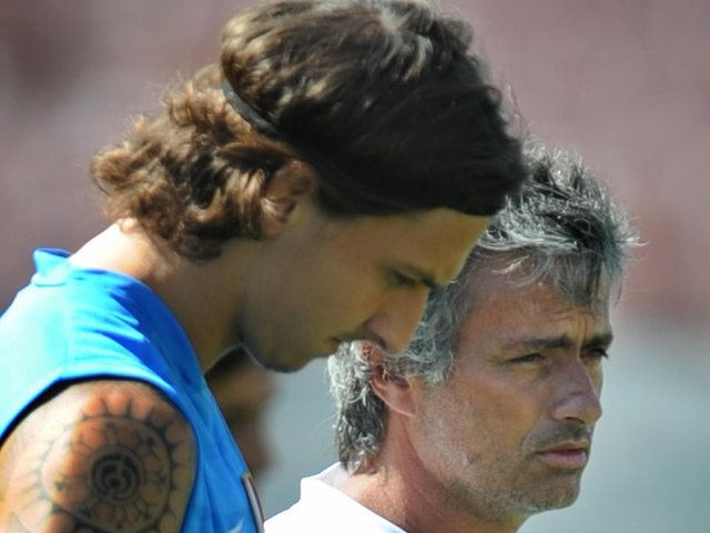 Zlatan Ibrahimovic and Jose Mourinho attend an Inter Milan training session on July 21, 2009.