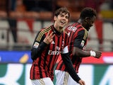 Kaka of AC Milan celebrates scoring the second goal during the Serie A match between AC Milan and AC Chievo Verona at San Siro Stadium on March 29, 2014