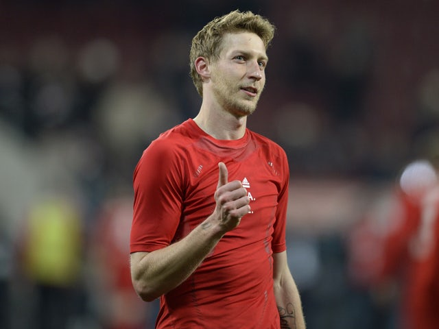 Leverkusen's striker Stefan Kiessling reacts after the German first division Bundesliga football match FC Augsburg vs Bayer Leverkusen in Augsburg, southern Germany on March 26, 2014