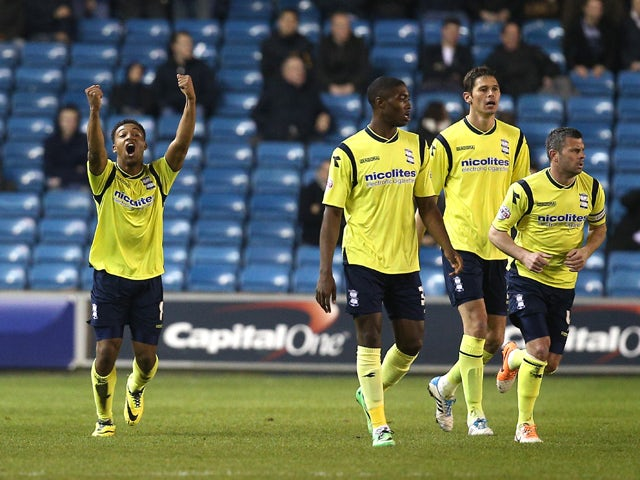 Jordan Ibe of Birmingham celebrates after scoring this team's first goal during the Sky Bet Championship match between Millwall and Birmingham City at The Den on March 25, 2014