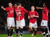 Manchester United players celebrate Cristiano Ronaldo's goal against Aston Villa on March 29, 2008.