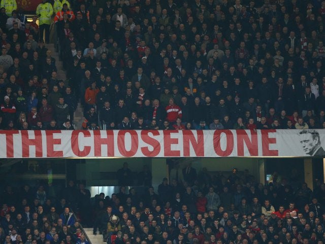 A general shot of the David Moyes banner at Old Trafford on March 25, 2014.