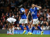 Kevin Mirallas of Everton gestures to fans after scoring his team's second goal during the Barclays Premier League match between Fulham and Everton at Craven Cottage on March 30, 2014