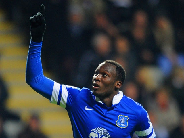 Romelu Lukaku of Everton celebrates scoring their second goal during the Barclays Premier League match between Newcastle United and Everton at St James' Park on March 25, 2014