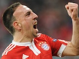 Bayern Munich's Franck Ribery celebrates scoring against Manchester United on March 30, 2010.