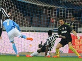 Josè Maria Callejon of Napoli scores the opening goal during the Serie A match between SSC Napoli and Juventus at Stadio San Paolo on March 30, 2014