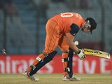 Logan van Beek of the Netherlands is bowled by Lasith Malinga of Sri Lanka during the ICC World Twenty20 Bangladesh 2014 Group 1 match on March 24, 2014