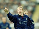 Paul Scholes celebrates scoring for Manchester United against Bradford City on March 25, 2000.
