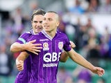 Nebojsa Marinkovic of the Glory celebrates after scoring a goal during the round 25 A-League match between Perth Glory and the Newcastle Jets at nib Stadium on March 30, 2014