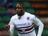 Stefano Okaka of Sampdoria celebrates after scoring the goal 1-2 during the serie A match between US Sassuolo Calcio and UC Sampdoria at Mapei Stadium on March 26, 2014