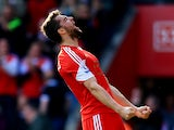 Jay Rodriguez of Southampton celebrates after scoring the opening goal during the Barclays Premier League match between Southampton and Newcastle United at St Mary's Stadium on March 29, 2014