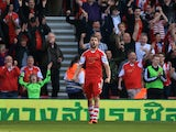 Jay Rodriguez of Southampton celebrates after scoring his team's fourth goal during the Barclays Premier League match between Southampton and Newcastle United at St Mary's Stadium on March 29, 2014