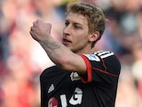 Stefan Kiessling reacts during the German first division Bundesliga football match Bayer Leverkusen vs Eintracht Braunschweig in the German city of Leverkusen on March 29, 2014