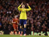 Ki Sung-Yeung of Sunderland celebrates scoring his team's first goal during the Barclays Premier League match between Liverpool and Sunderland at Anfield on March 26, 2014