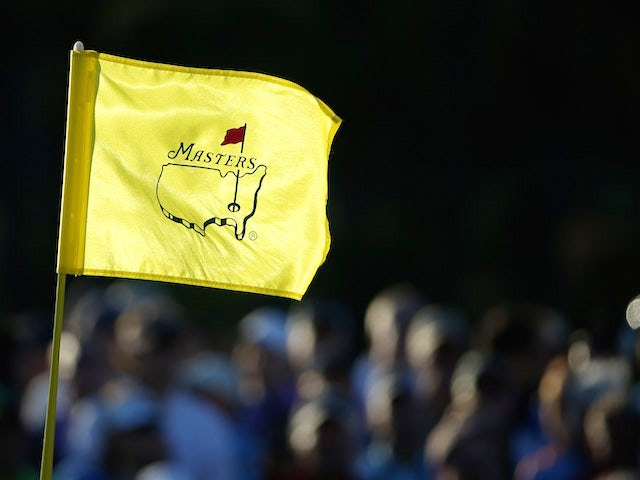 A detailed shot of the pin flag on the 18th green during the second round of the 2013 Masters at the Augusta National Golf Club on April 12, 2013