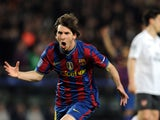 Barcelona's Argentinian forward Lionel Messi celebrates scoring against Arsenal during the Champions League quarter-final second-leg match at Camp Nou stadium in Barcelona on April 6, 2010