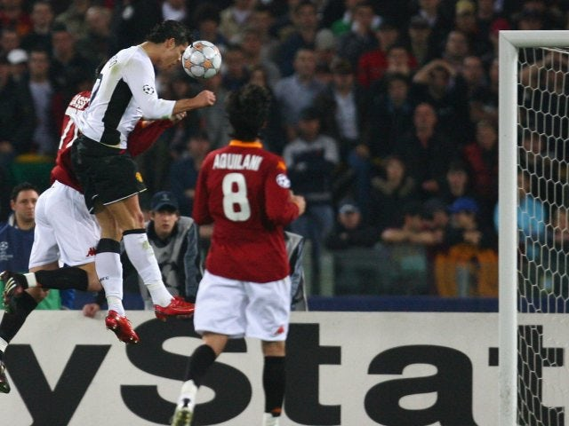 Cristiano Ronaldo heads Manchester United in front against Roma on April 1, 2008.