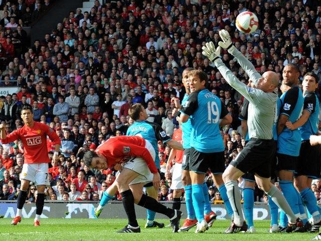 Cristiano Ronaldo scores for Manchester United against Aston Villa or April 04, 2009.