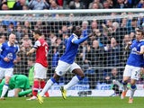 Romelu Lukaku of Everton celebrates scoring the second goal during the Barclays Premier League match between Everton and Arsenal at Goodison Park on April 6, 2014