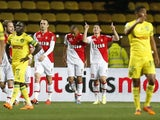 Monaco's Colombian midfielder James Rodriguez (2nd R) celebrates after opening the scoring during the French L1 football match Monaco (ASM) vs Nantes (FCN) on April 6, 2014