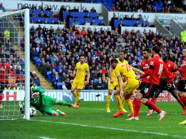 Joe Ledley #28 of Crystal Palace scores his team's second goal during the Barclays Premier League match against Cardiff City on April 5, 2014