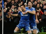 Gary Cahill and John Terry celebrate the latter's goal for Chelsea on December 01, 2013.