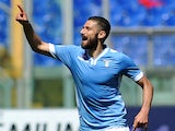 Lazio's midfielder Antonio Candreva celebrates after scoring a goal during the Serie A football match Lazio Rome vs Sampdoria Genoa on April 6, 2014