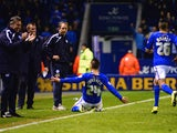 Anthony Knockaert of Leicester City celebrates scoring their second goal during the Sky Bet Championship match between Leicester City and Sheffield Wednesday at The King Power Stadium on April 04, 2014