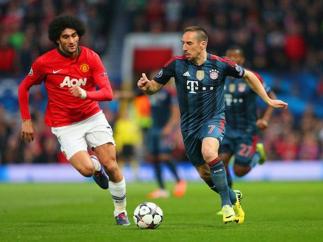 Marouane Fellaini of Manchester United tracks Franck Ribery of Bayern Munich during the UEFA Champions League Quarter Final first leg match on April 1, 2014