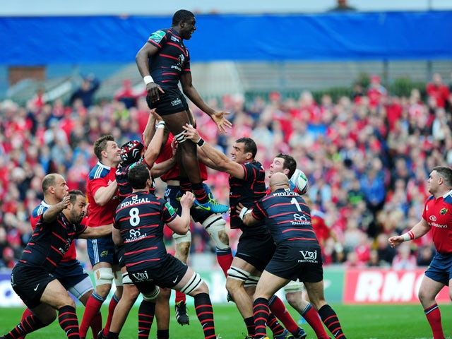 Toulouse player Yacouba Camara jumps for the ball during the rugby union European Cup quarter final match between Munster and Stade Toulousain at Thomond Park in Limerick on April 5, 2014