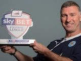 Leicester boss Nigel Pearson with his Manager of the Month award on April 3, 2014
