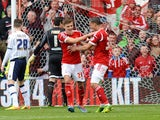 Jamie Paterson of Nottingham Forest celebrates scoring their first goal during the Sky Bet Championship match between Nottingham Forest and Millwall at City Ground on April 05, 2014