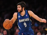 Ricky Rubio of the Minnesota Timberwolves dribbles up court against the Los Angeles Lakers during action from their NBA game in Los Angeles, California on November 10, 2013