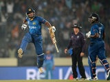 Sri Lanka cricketer Kumar Sangakkara leaps into the air as he celebrates the victory during the ICC World Twenty20 cricket final match between India and Sri lanka at The Sher-e-Bangla National Cricket Stadium in Dhaka on April 6, 2014