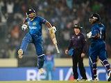 Sri Lanka cricketer Kumar Sangakkara leaps into the air as he celebrates the victory during the ICC World Twenty20 cricket final match between India and Sri lanka at The Sher-e-Bangla National Cricket Stadium in Dhaka on April 6, 2014