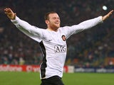 Wayne Rooney celebrates scoring for Manchester United against Roma on April 1, 2008.