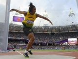 Jamaica's Allison Randall competes in the women's discus throw qualifying rounds at the athletics event during the London 2012 Olympic Games on August 3, 2012