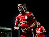 Liverpool's Andy Carroll celebrates after scoring the winning goal against Blackburn during the Premier League match on April 10, 2012