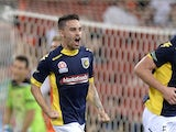 Anthony Caceres of the Mariners celebrates after scoring a goal during the round 27 A-League match between Brisbane Roar and the Central Coast Mariners at Suncorp Stadium on April 12, 2014