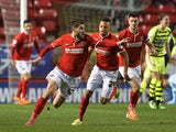 Astrit Ajdarevic of Charlton celebrates scoring Charlton's 1st goal during the Sky Bet Championship match between Charlton Athletic and Yeovil Town at The Valley on April 8, 2014